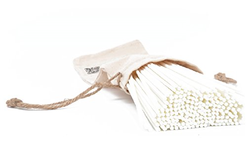 Jecnovo Reed Diffuser Sticks Pack of 100 Fiber Sticks with Handmade Linen Bag, Eco-Friendly, Safe and Non-Toxic, 9 Inches Long 3mm Diameter Aromatherapy Diffusers for Home, Spa and Office(White)