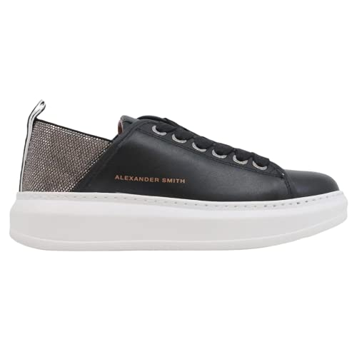 ALEXANDER SMITH E116011 Wembley - Zapatillas de mujer de piel negra, Black Silver, 39 EU