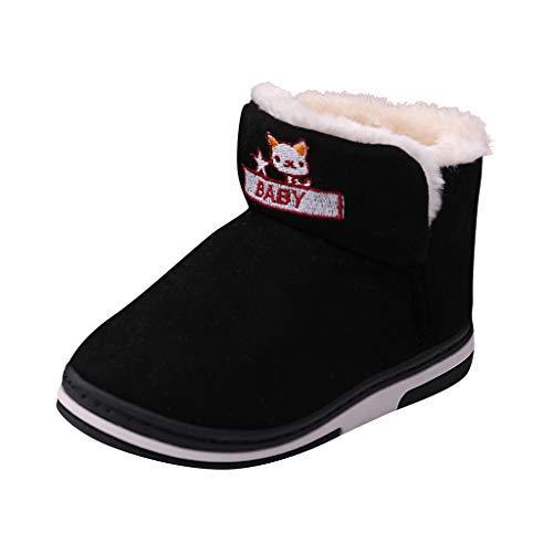 Botas de nieve para niños con forro térmico, antideslizantes, para invierno, para niños pequeños, de ante, color Negro, talla 16 EU
