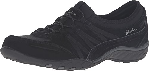 Skechers Breathe-Easy-Moneybags, Zapatillas, Negro (BLK Black Suede/Mesh/Charcoal Trim), 35 EU