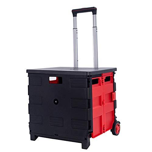 qwertyu Faltbarer Einkaufswagen, zusammenklappbar, tragbarer Bollerwagen mit Deckel und Teleskopgriff für Reisen und Einkaufen.