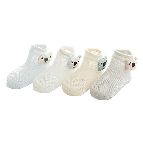 sock Chaussettes bébé Printemps et été, Maille Respirante Coton Tube intermédiaire Chaussettes de bébé, Poupée de Bande dessinée Chaussettes pour Enfants 12 Paires