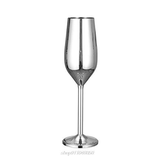 Rcsinway Copa de Vino de Acero Inoxidable Creativo Copos de Copa de champán Copa de cócteles Whisky Cup Fartel Gafas de Vino espumoso (Color : S)