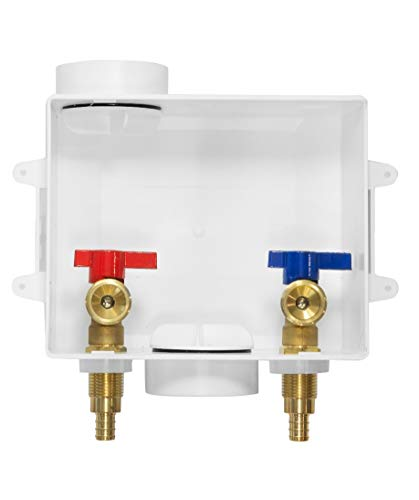 EFIELD Washing Machine Outlet Box with Center Drain with Brass 1/4 Turn Valves Installed, 1/2' PEX F1807 Crimp X 3/4' MHT Connection ,White
