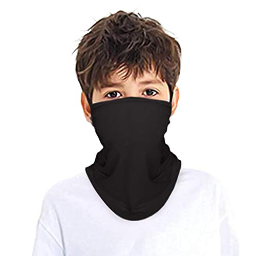 Kids Face Mask Bandana Ear Loops Mesh Holes Neck Gaiter Cooling Breathable Balaclava Scarf Dust UV Protection for Boys Girls