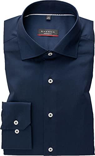 eterna Hemd Modern Fit Performance Shirt blau 3377/19 E18K extra lang 72 cm Arm, Kragenweite/Größe:44