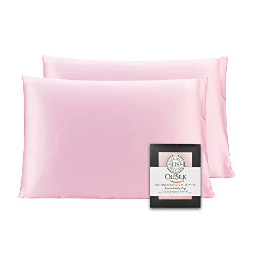 OLESILK Funda de almohada 100% seda de morera con cremallera oculta para cabello y piel, ambos lados de 16 mm, caja de regalo Charmeuse, 2 unidades, color rosa, 50 x 75 cm
