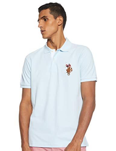 U.S. Polo Assn. Men's Slim Fit Cotton Pique Polo Shirt, Tahoe Blue Heather, L