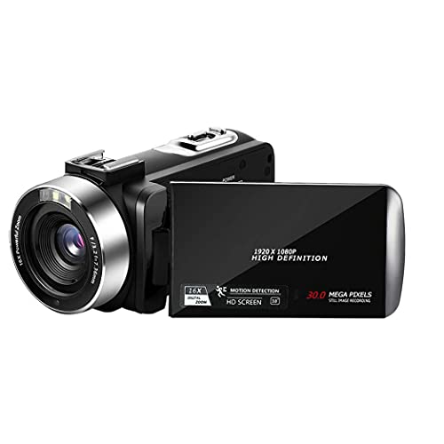 Psycker Videokamera Camcorder FHD 1080p 24MP YouTube Digitalkamera, 30FPS IR Nachtsicht Vlogging Kamera, 3,0'' IPS Bildschirm Kamera Camcorder mit 16X Digitalzoom, Fernbedienung, 2 Batterien