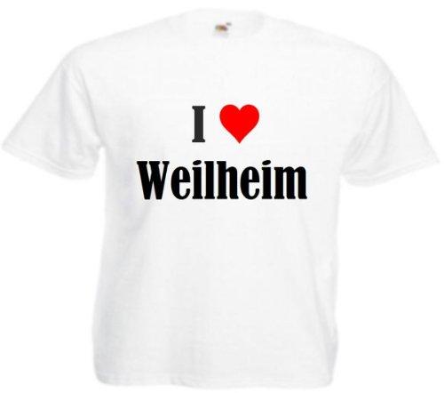 T-Shirt I Love Weilheim Größe 2XL Farbe Weiss Druck Schwarz
