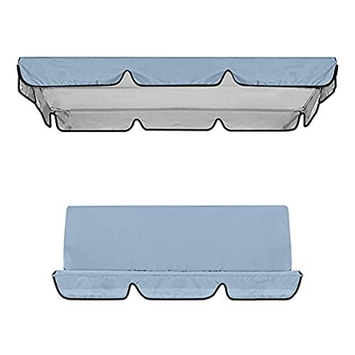 3Plazas Columpio Jardín Tipo Balancín Metal Mecedora Toldo Exterior Regulable Cojín Acolchado Balcón Exterior en Tela Oxford Recubierta de Plata Impermeable (1 × Cubierta Superior del Columpio, Gray)