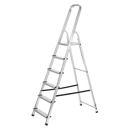 packer PRO Escaleras Plegables Aluminio de Tijera Super Resistente hasta 150Kg, Acero y Aluminio Antideslizantes, Altura de Trabajo hasta 310cm, 6 Peldaños