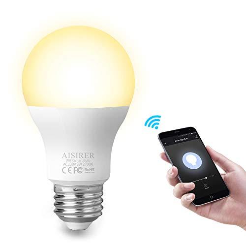 AISIRER Smart WLAN LED Lampe Wifi Glühbirne Birne 9W 806LM Kompatibel mit Amazon Alexa Echo Google Home Assistant Kein Hub Erforderlich Dimmbares Warmes Licht 2700K E27