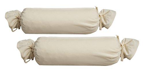Biberna 0077144 Funda para Rollos de Cuello, algodón Peinado, Muy Suave Jersey Fino 2X 15x40 cm, Naturaleza