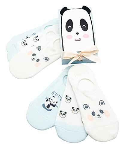 Caramella 🎁6 Paar süße lustige Sommer Füßlinge Socken Geschenkbox für Frauen & Mädchen, tolle Geschenkidee für besonderen Anlass, EU 34-39, 6 Paar bunte Socken (Panda)