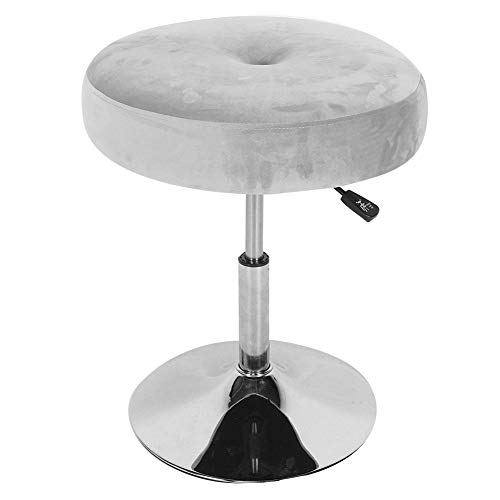 TOPINCN Swivel Makeup Vanity Stool Dressing Upholstered Vanity Chair 360 Degree Rotating Adjustable Height Soft Compact Padded Seat for Bedroom(Gray)