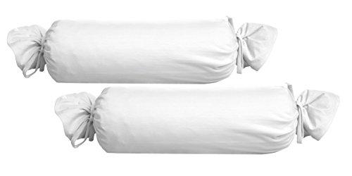 biberna 0077144 Feinjersey Bettwäsche Nackenrollenbezug (Baumwolle) 2x 15x40 cm, weiß