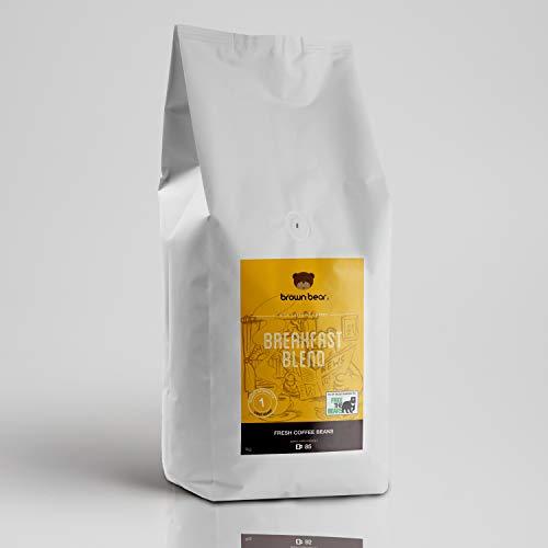 Brown Bear Breakfast Blend Kaffeebohnen, Helle Röstung,1 kg Kaffee Ganze Bohnen Light Roast Coffee Beans, 5 % der Verkäufe werden an die gemeinnützige Einrichtung Free the Bears
