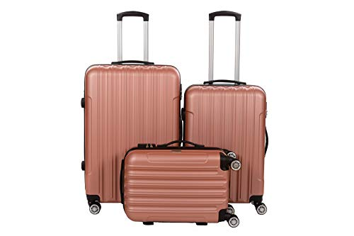 Birendy - 3-TLG. Hartschalen Koffer-Set 35004 Trolley mit 4 Rollen, Zahlenschloss und Ausziehgriff - 3 Größen L, XL, XXL und Set - Rose-Gold