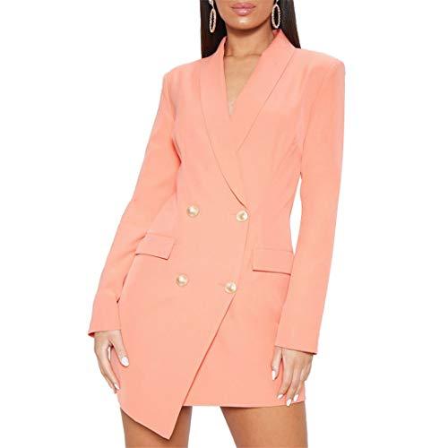 wkd-thvb Vestido de mujer sexy con cuello en V y doble botonadura para mujer de color sólido de manga larga Slim Fit Mini vestido