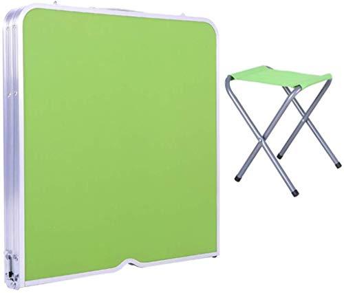 DNSJB Draagbare Outdoor Opvouwbare Tafelstoel Stoel Set Kleine Eenvoudige Barbecue Eettafel Stal Tafel, Kleur, Groen - 2 Krukken