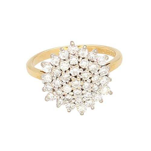 Anillo de oro amarillo de 18 quilates para mujer con diamante de 1,00 quilates (tamaño K 1/2) cabeza de 14 x 14 mm, anillo de lujo para mujer