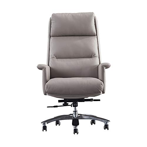 Silla de oficina ergonómica de diseño ergonómico, silla de piel, silla giratoria simple, patas de aleación de aluminio, reposabrazos fijos