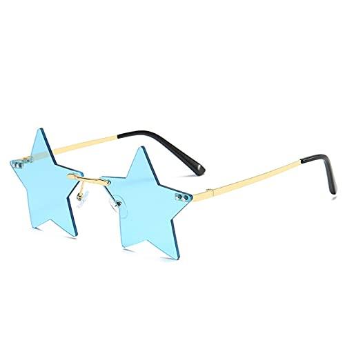 LOPIXUO Gafas de sol Gafas de sol con forma de estrella de moda para mujer, gafas de sol sin montura con personalidad, gafas con montura de aluminio, gafas con lente de océano para mujer, múltiples