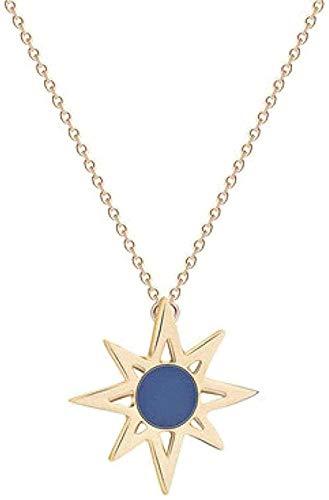 WYDSFWL Collares Moda con Colgante de ópalo Solar Joyas para Hombres y Mujeres Gargantilla de Cadena Larga Collar Moda Collar de Metal Decoración Azul ópalo