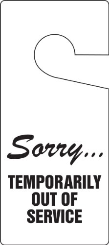 """Accuform TAD841 Standard Door Knob Hanger Tag, Legend""""Sorry.Temporarily Out of Service"""", 9"""" Length x 4"""" Width x 0.015"""" Thickness, RP-Plastic, Black on White (Pack of 10)"""