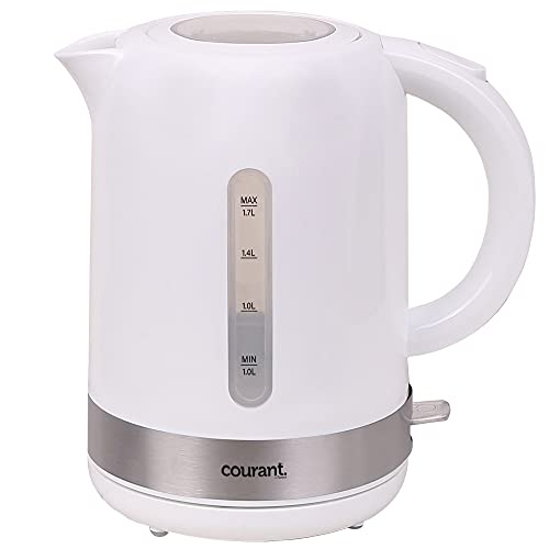 Courant COUKEP175W 1.7 Liter Electric Kettle Cordless with LED Light, 1000W Power, Automatic Safety Shut-Off, Perfect for Tea / Coffee /Hot Chocolate/ Soup/ Hot Water, White Color