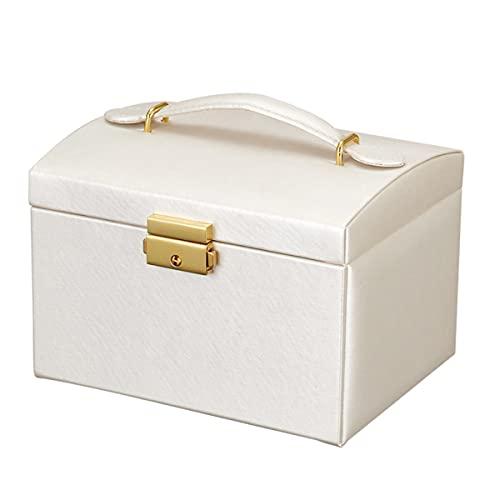 Liu Yu·casa creativa Caja de joyería, con asa, con Ornamento de Gran Capacidad,White,Standard