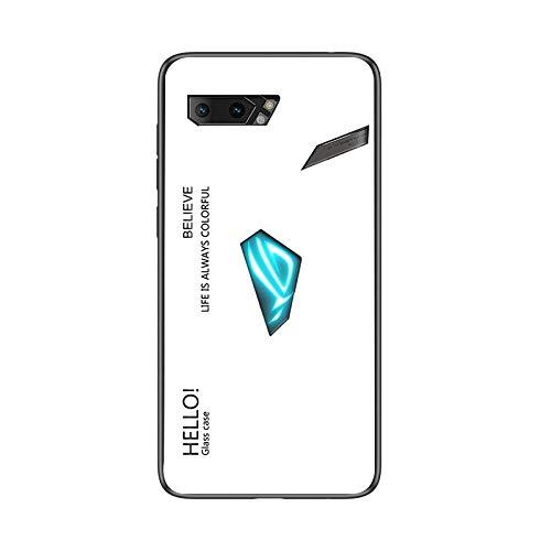 SHIEID Handyhülle für Asus Rog Phone 2 Hülle,Gradient Klarglas Gehärtetem Glas Handyhülle Hülle Cover für Handyhülle für Asus Rog Phone 2 (Weiß)