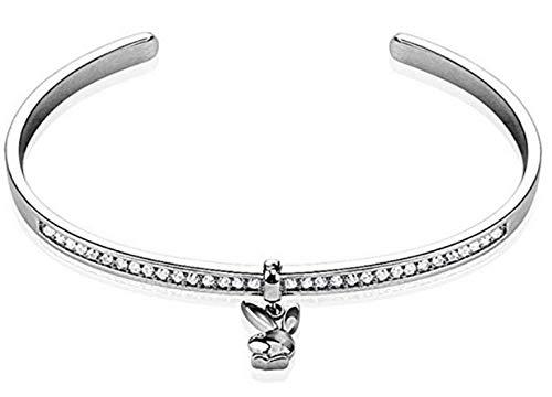 Playboy Bunny Dangle Multi Paved Gem Resizable Cuff Armband - Bracelet Farbe: Klar