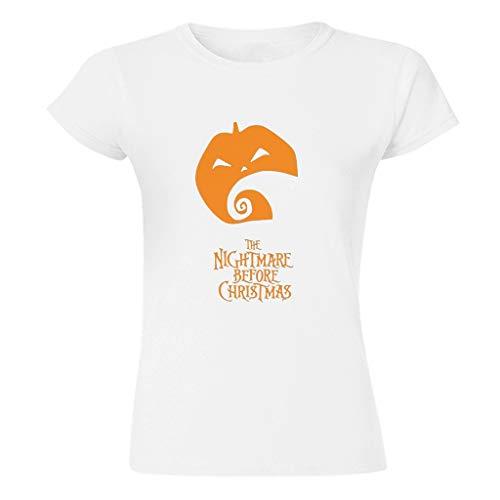 EUNNT A Christmas Before Nightmare Pumpkin Neuheit Casual verschiedene Arten Batik T-Shirts für Freundin oder Familie Weihnachten Gr. XL, weiß