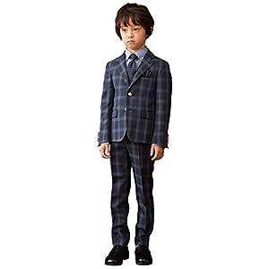 [WANDER FACTORY] 入学式 男の子 スーツ (フォーマルスーツ 5点セット) 卒園式 小学生 男子 [チェック柄] 子供服 ジュニア ボーイズ ネイビー 120cm