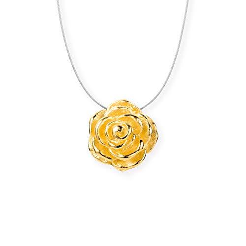 Drachenfels Kleiner Rosen Anhänger in Echtsilber goldplattiert | Kollektion Rosenregen | Anhänger für Stahlreif | Designerschmuck aus 925 Sterling Silber | D RRE 34/AGG