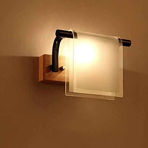 Inomhusbelysning Led modern kreativ utomhus vägg lykta sänglampa massivt trä vägg sconce glas lykta inomhus belysning lampa till sovrum korridor trappor badrum inomhus belysning fixtur dekoration g4