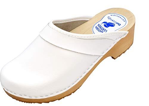BeComfy - Zuecos de Madera con Cuero para Mujeres - Zapatos para el Trabajo - Suela Reforzada con una Capa de Goma Elástica - Blanco, Negro, Azul Marino, Flores (37 EU, Blanco-Liso)