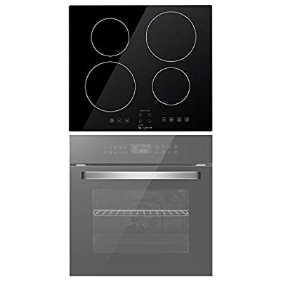 Empava 24 Inch Single Wall Oven and Electric Stove Induction Cooktop with 4 Power Boost Burners Smooth Surface Vitro Ceramic Glass