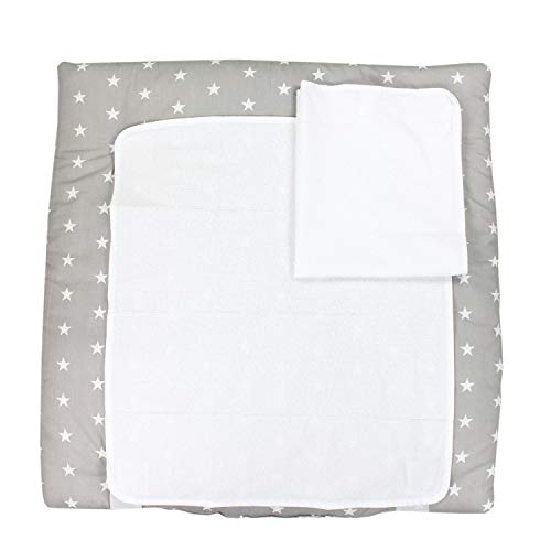 TupTam Baby Wickelauflage inkl. 2 Frotteebezüge ANK019, Farbe: Sternchen Weiß/Grau, Größe: 75 x 85 cm