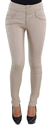 Damen Leder Look Hose Stretch Röhre Hochschnitt Corsagenhose Kunstleder Skinny Beige Blau W533-2-beige XS/34