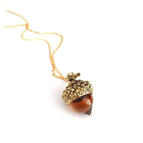 Joji Boutique: Golden Amber Glass Acorn Pendant Necklace
