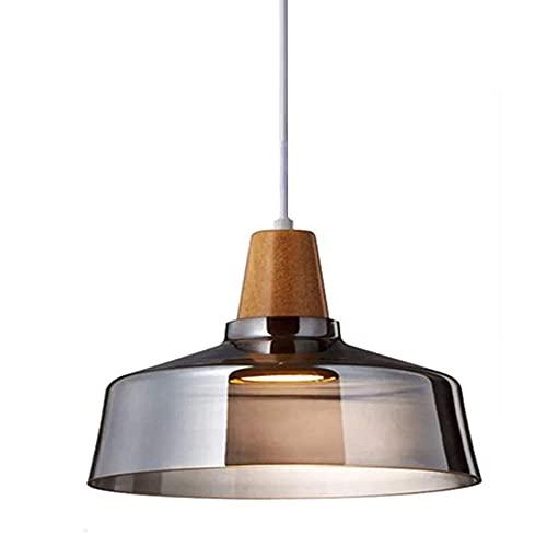 Lámpara de mesa de comedor, de madera, 1 luz, E27, vintage, pantalla de cristal, color gris ahumado, lámpara colgante altura regulable, para salón, dormitorio, comedor, bar, cafetería, 24 x 19 cm