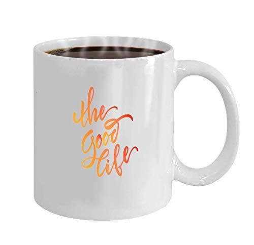 Taza de Lsjuee personalizada - taza de café - regalos personalizados - 11oz taza de té blanco vector ilustración stock vector caligrafía rotulación la buena vida lema motivacional el buen li