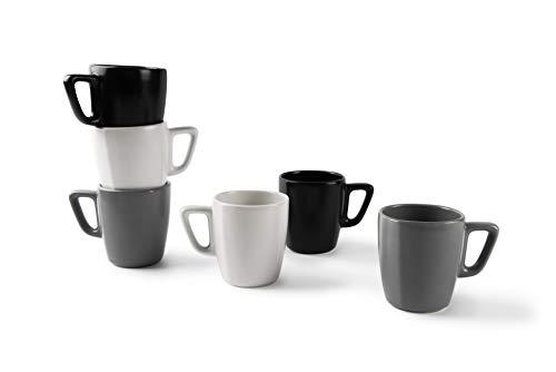 Excelsa Eclipse - Juego de 6 tazas de 230 ml, cerámica, blanco, negro y gris
