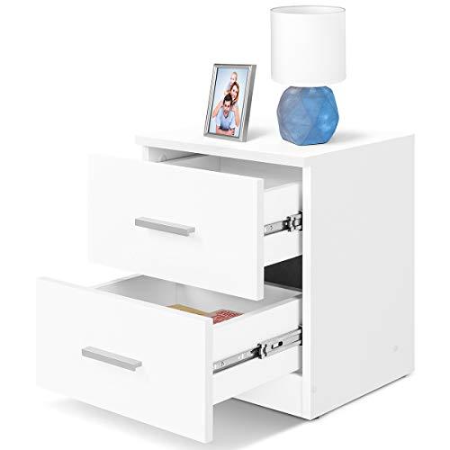 COMIFORT Mesa de Noche - Mesita Auxiliar para el Dormitorio de Estilo Nórdico, Moderna y Minimalista, con 2 Espaciosos Cajones, Muy Resistente, de Color Blanco