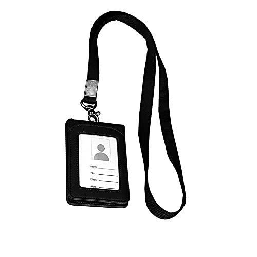 QUUPY Tarjetero de piel con cordón para tarjetas de crédito, color negro