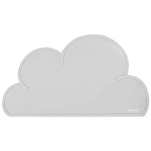 PREMYO Mantel Individual de Silicona Salvamantel Ideal para Mesa del Comedor con Niños Fácil de Limpiar Lavable Impermeable Forma de Nube Gris
