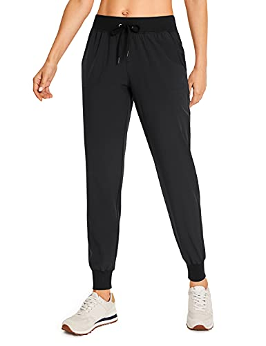 CRZ YOGA Women's Lightweight Joggers Pants with Pockets Drawstring Workout Running Pants with Elastic Waist Black Large